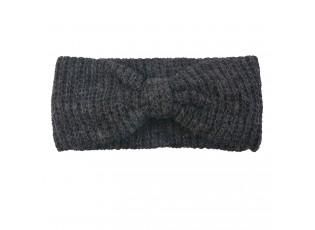 Antracitová pletená čelenka do vlasů - 10*23 cm