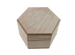 Dřevěná šperkovnice s ornamentem - 9*8*5 cm
