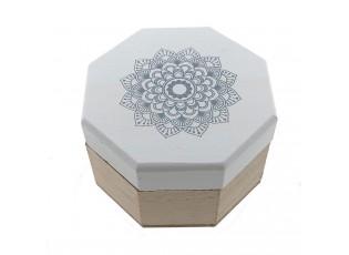 Dřevěná šperkovnice s ornamentem - 9*9*4 cm
