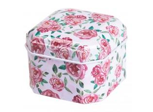 Malá plechová krabička /šperkovnice s květy - 6*6*4 cm