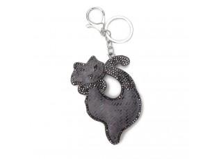Šedý přívěšek na klíče kočka s kamínky - 5.5*7 cm