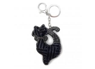 Černý přívěšek na klíče kočka s kamínky - 5.5*7 cm