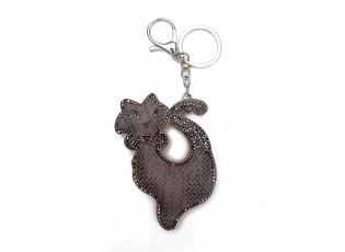 Hnědý přívěšek na klíče kočka s kamínky - 5.5*7 cm