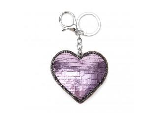 Klíčenka růžové srdce - 5.5*7 cm