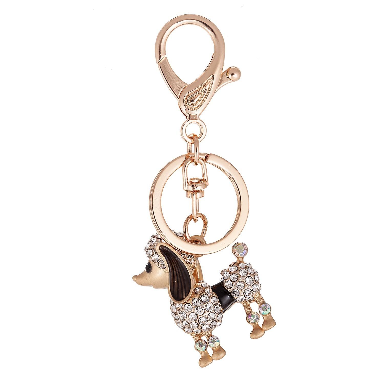 Přívěsek na klíče kovový pejsek s kamínky