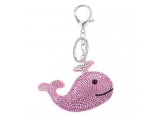 Přívěsek na klíče růžová Velryba s kamínky - 9*1*6cm