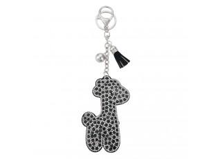 Klíčenka s přívěskem stříbrno černé žirafy
