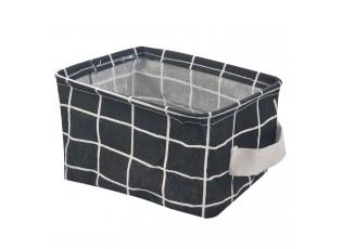 Černý kostkovaný látkový košík - 21*21*17 cm