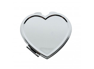 Stříbrné příruční zrcátko ve tvaru srdíčka - 7*6 cm