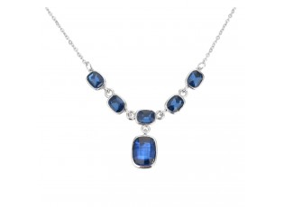 Náhrdelník stříbrný s modrými kameny