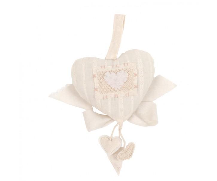 Závěsné látkové béžové srdce   - 20 cm