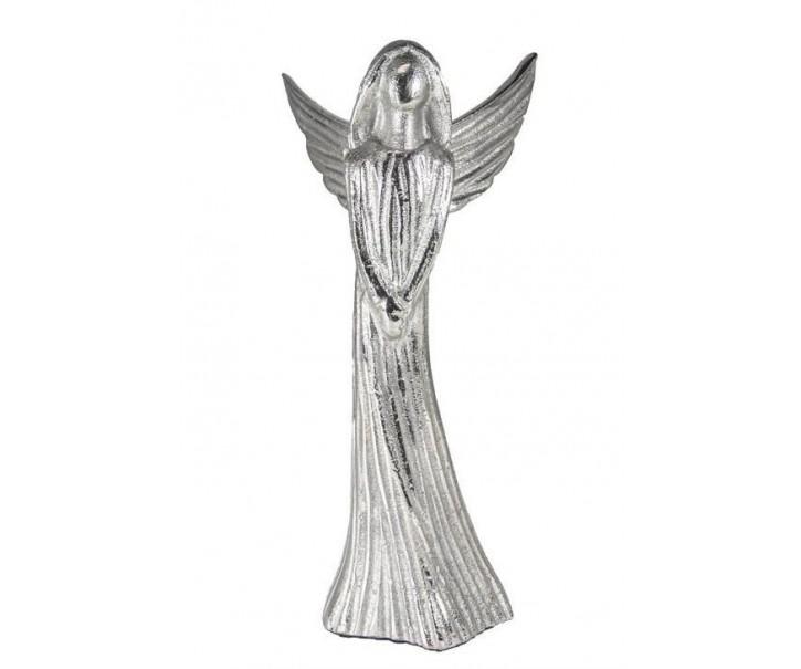 Kovový stříbrný anděl Anael - 11*10*21 cm