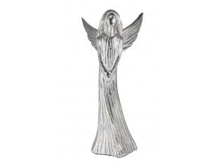 Kovový stříbrný anděl Anael - 24*11*33cm