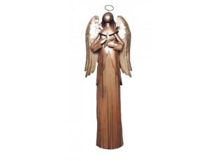 Veliký plechový bronzovo-zlatý anděl - 26*11*74cm