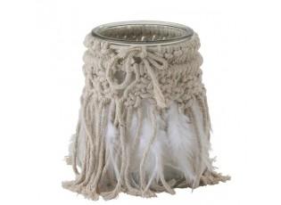Skleněný svícen s provázky a peříčky Macrame - Ø 10*15cm