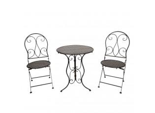 Černá zahradní souprava stůl + 2 židle - Ø 60*70 / 2x Ø 40*40*92 cm