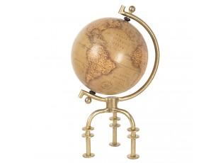 Hnědý dekorační globus v retro stylu se zlatou trojnožkou - 23*20*40 cm