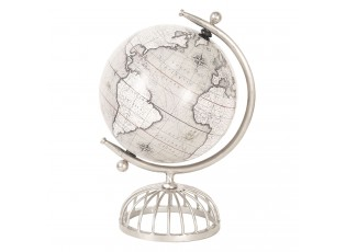 Otočný dekorační globus ve stříbrném kovovém stojanu Radelle - 22*20*36 cm