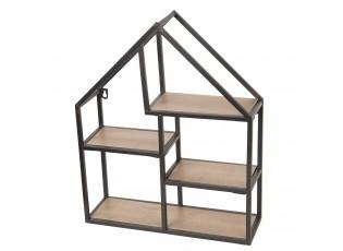 Kovovo-dřevěná nástěnná polička domek - 40*14*50 cm