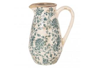 Retro džbán se zelenými květy - 16*12*22 cm