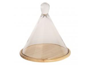 Dřevěný podnos se skleněným poklopem  - 28*28*28 cm