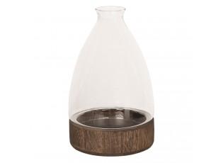 Dřevěný podnos se skleněným kuželovitým krytem - Ø 13*21 cm