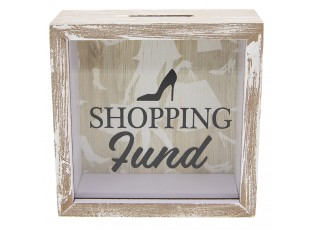 Dřevěná pokladnička Shopping - 15*5*15 cm