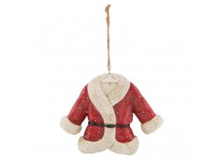 Závěsná vánoční dekorace Santův kabát - 13*4*10 cm