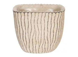 Béžový betonový obal na květináč s hnědými linkami - 15*15*13 cm
