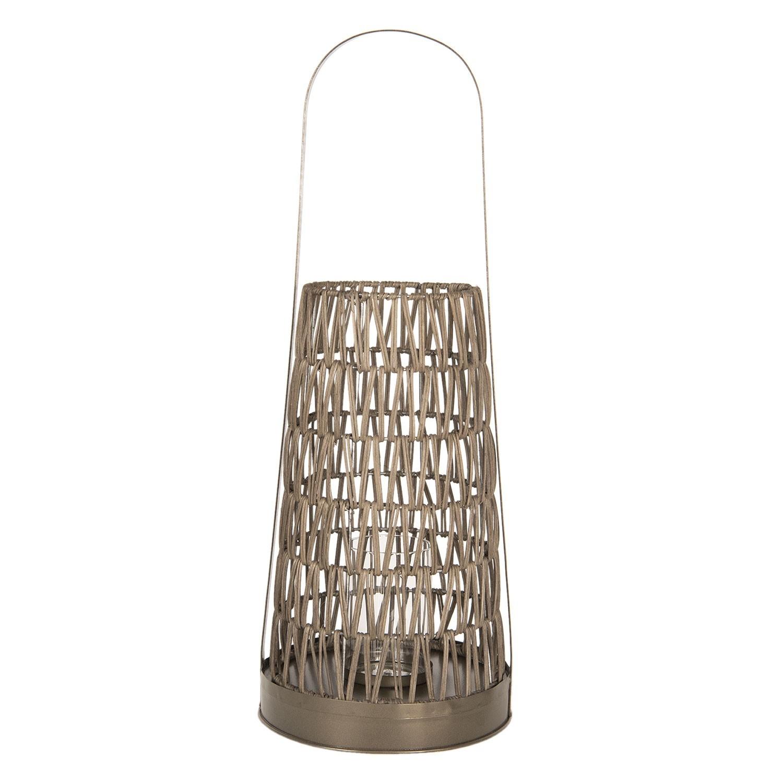Zlatá kovová lucerna - Ø 24*66 cm
