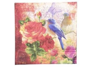 Papírové ubrousky s ptáčky a růžemi - 33*33 cm (20)