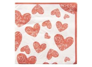 Papírové ubrousky srdce - 33*33 cm (20)