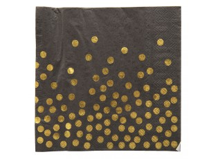 Černé papírové ubrousky zlaté puntíky - 33*33 cm (20)