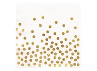 Bílé papírové ubrousky zlaté puntíky - 33*33 cm (20)