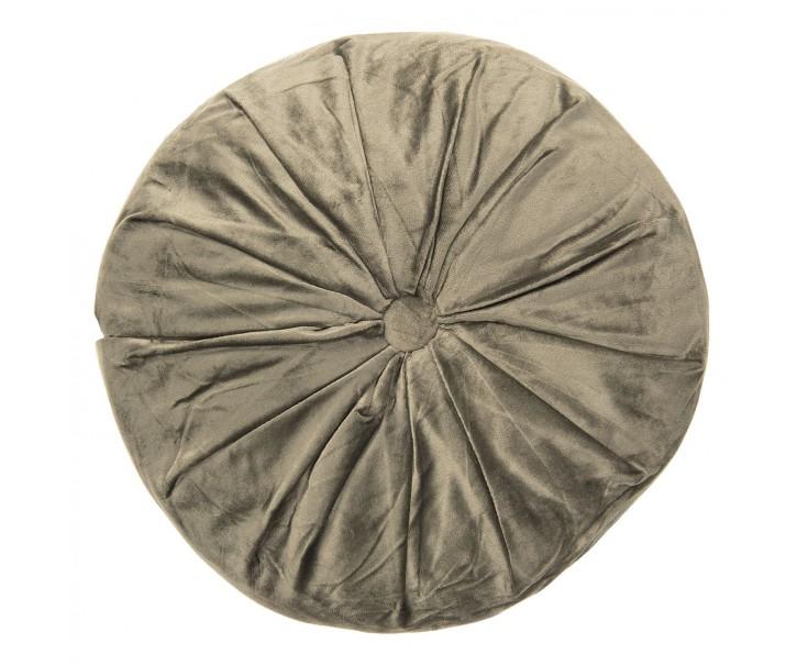 Khaki kulatý sametový polštář - Ø 38*8 cm