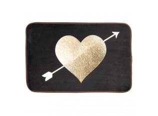 Černá koupelnová předložka se zlatým srdcem - 60*40*1 cm