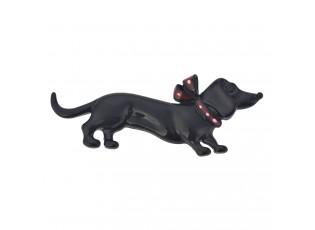 Brož černý jezevčík s mašlí -5*1*2 cm