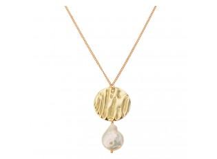 Zlatý bižu řetízek s přívěskem perly