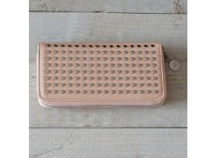 Růžová peněženka se cvočky - 19*9.5 cm