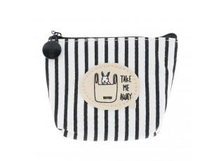 Bílo černá pruhovaná malá peněženka s králíkem - 11*9 cm