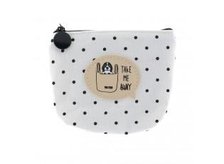Bílo černá puntíkatá peněženka s pejskem - 11*9 cm