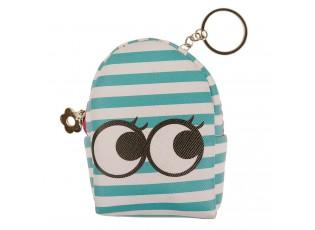 Pruhovaná peněženka ve tvaru batůžku s očima - 9*7*4 cm