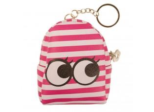 Růžová pruhovaná peněženka ve tvaru batůžku s očima - 9*7*4 cm