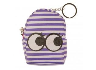 Fialová pruhovaná peněženka ve tvaru batůžku s očima - 9*7*4 cm