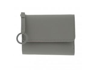 Šedá koženková peněženka - 12*9 cm