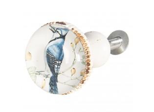 Bílá kovová úchytka s ptáčkem II - Ø 3*6 cm