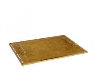 Kovový zlatý podnos s uchy - 40*30*4,5 cm