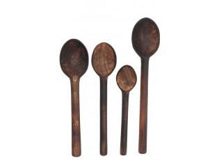 4 dřevěné hnědé lžíce - 32*4*7 cm