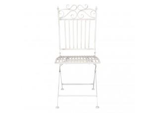 Kovová skládací zahradní židle bílá - 38*48*96 cm