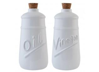 Sada bílá láhev na olej a ocet -  Ø 9*19 cm / 2x 0,6 L